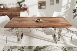Casa Padrino designer dining table brown / silver 180 x 88 x H. 75 cm - Luxury Kitchen Table with Massive Sheesham Wood Table Top and Polished Stainless Steel Legs