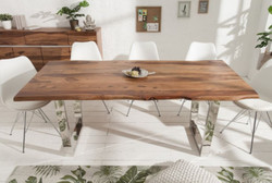 Casa Padrino designer dining table brown / silver 200 x 98 x H. 76 cm - Luxury Kitchen Table with Massive Sheesham Wood Table Top and Polished Stainless Steel Legs