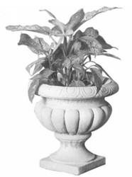 Casa Padrino Baroque Flowerpot Gray Ø 38 x H. 37 cm - Garden Decoration in Baroque Style