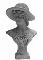 Casa Padrino Art Nouveau Concrete Deco Figurine / Sculpture Lady with Hat Gray 40 x H. 60 cm - Garden & Terraces Decoration