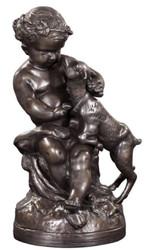 Casa Padrino Luxus Bronzefigur Engel mit Lamm Bronze 21 x 20 x H. 38 cm - Deko Bronze Skulptur