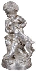 Casa Padrino Luxus Bronzefigur Engel mit Lamm Silber 21 x 20 x H. 38 cm - Deko Bronze Skulptur