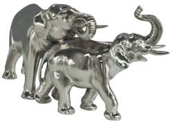 Casa Padrino bronze figure / sculpture elephant pair silver 26 x 9 x H. 13 cm - Luxury Decoration Figures