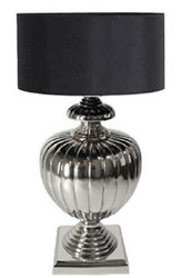 Casa Padrino luxury table lamp silver / black Ø 40 x H. 80 cm - Brass Table Lamp with Lampshade