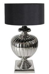 Casa Padrino Luxus Tischleuchte Silber / Schwarz Ø 40 x H. 80 cm - Messing Tischlampe mit Lampenschirm