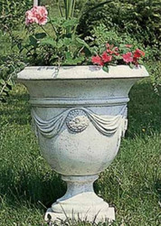 Casa Padrino Baroque Flower Pot / Plant Pot Gray Ø 60 x H. 67 cm - Garden Decoration in Baroque Style