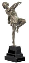 Casa Padrino Luxury Bronze Figure Dancing Lady Silver / Black 22 x 11 x H. 51 cm - Deco Figure on Wooden Base