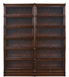 Casa Padrino luxury mahogany bookcase with 12 glass doors and 2 drawers dark brown 172 x 31 x H. 211 cm - Luxury Office Furniture