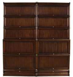Casa Padrino luxury mahogany bookcase with 10 glass doors and 2 drawers dark brown 172 x 36.5 x H. 197 cm - Luxury Office Furniture