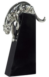 Casa Padrino luxury bronze figure panther silver / black 17 x 6 x H. 28 cm - Elegant Deco Figure on Wooden Base