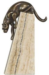 Casa Padrino luxury bronze figure panther bronze / beige 17 x 6 x H. 28 cm - Elegant Deco Figure on Natural Stone Base
