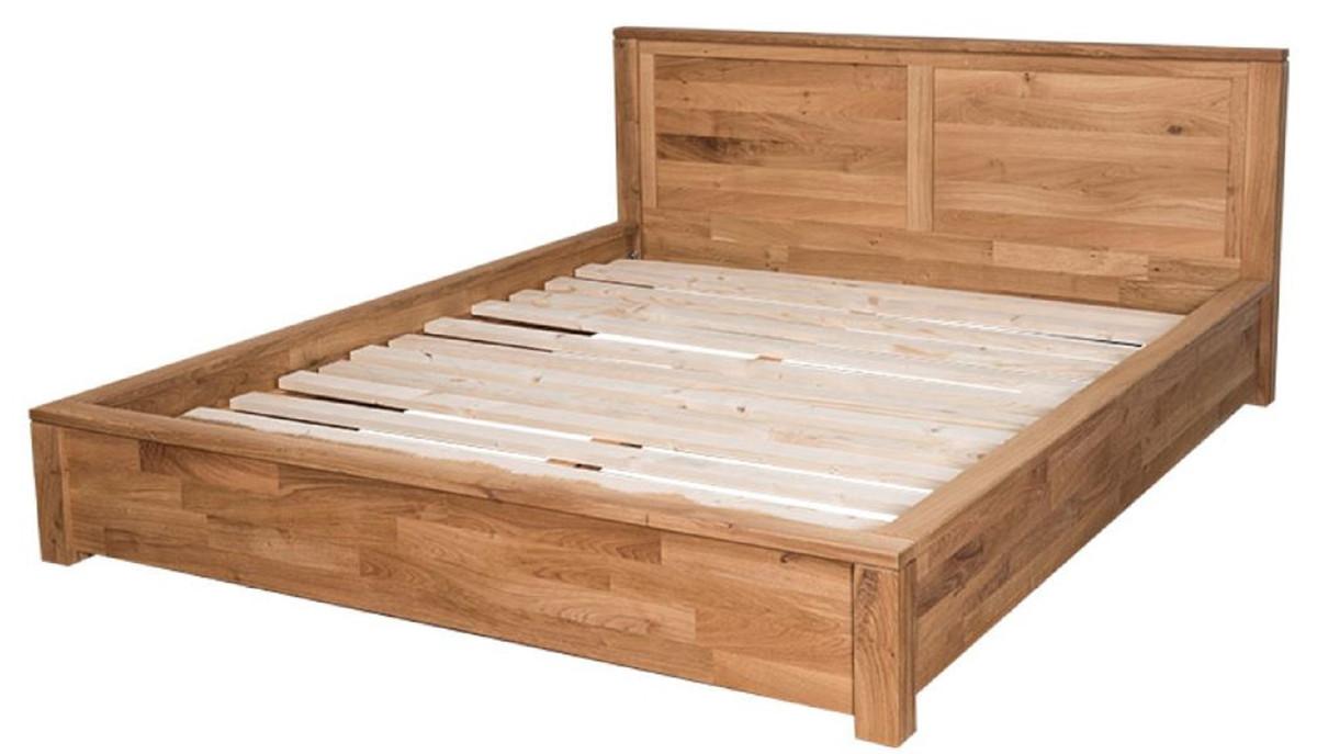 Casa Padrino letto in legno di rovere stile country naturale 180 x 200 cm -  Arredamento Camera da Letto in Stile Country