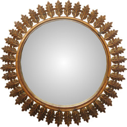 Casa Padrino Baroque Wall Mirror Round Antique Gold Diameter 93 cm - Antique Look