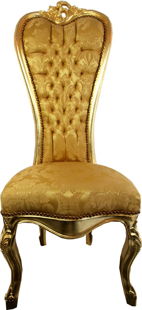 Sedia trono barocca Casa Padrino Queen Anne Gold Pattern / Gold ...