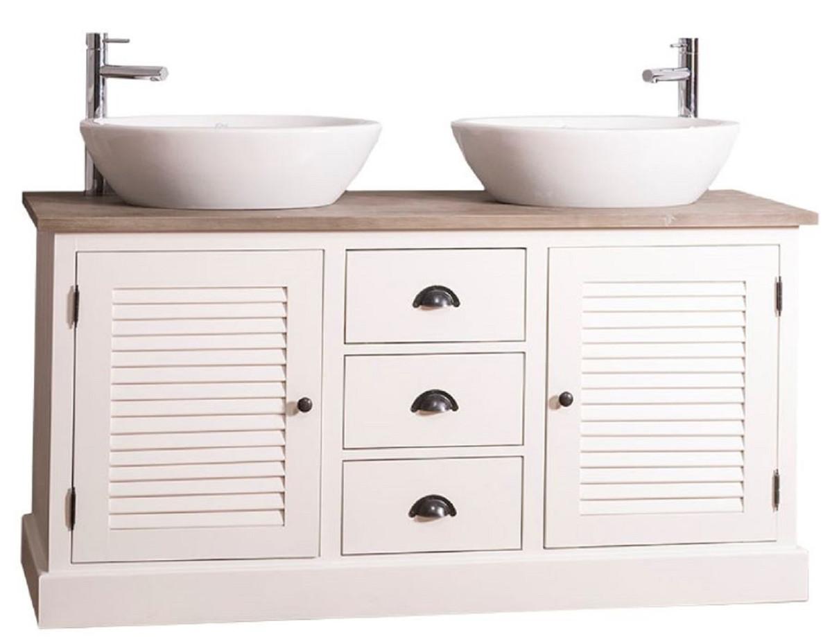Foto Bagni Stile Country casa padrino mobile lavabo doppio in stile country con 2 ante e 3 cassetti  crema / naturale 150 x 51 x h. 75 cm - mobili da bagno in stile country