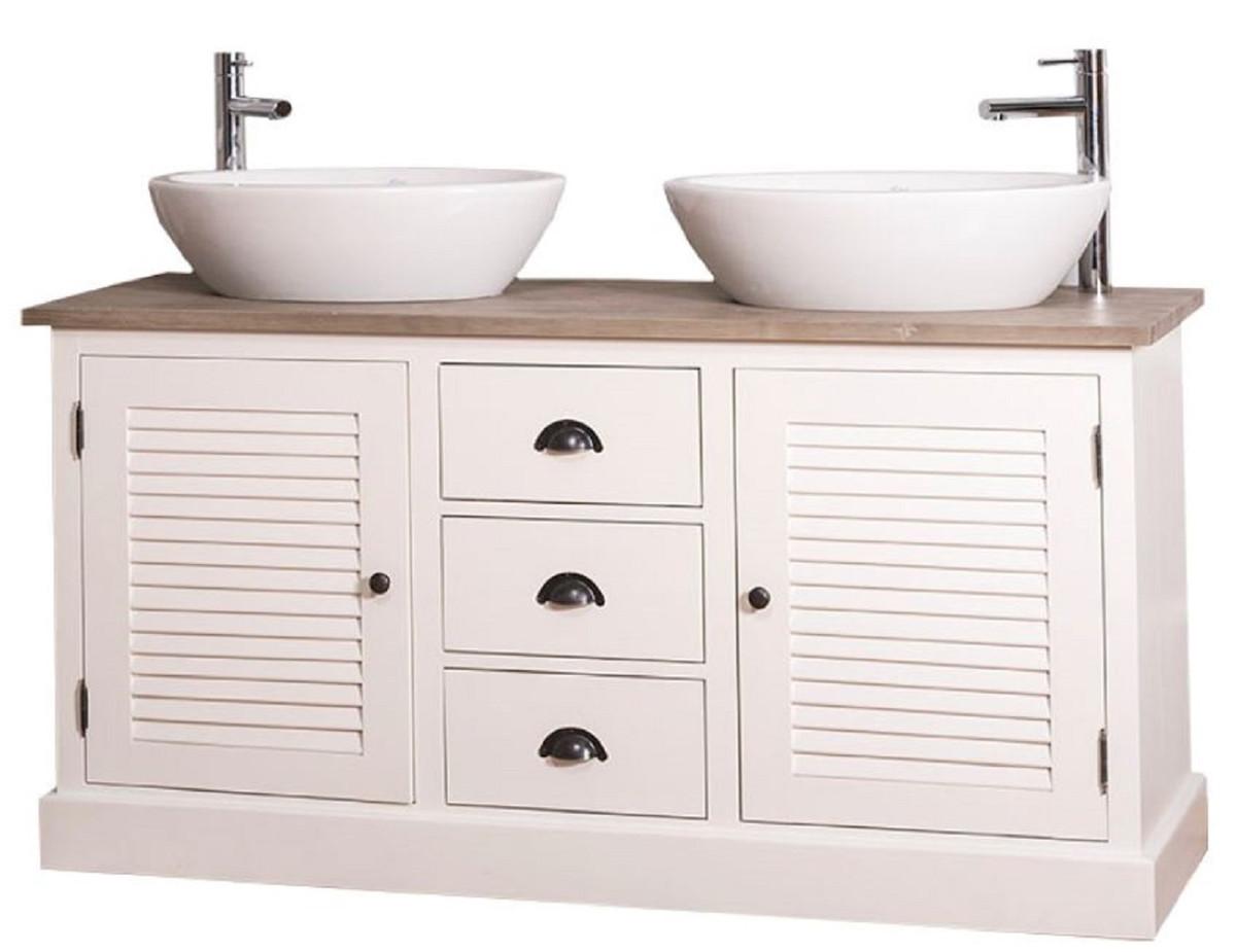 Bagno 2 X 2 casa padrino mobile lavabo doppio in stile country con 2 ante e 3 cassetti  crema / naturale 150 x 51 x h. 75 cm - mobili da bagno in stile country