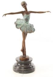Casa Padrino Luxus Bronze Skulptur Ballerina Bronze / Türkis / Schwarz 21 x 8,8 x H. 29,5 cm - Deko Bronzefigur mit Marmorsockel