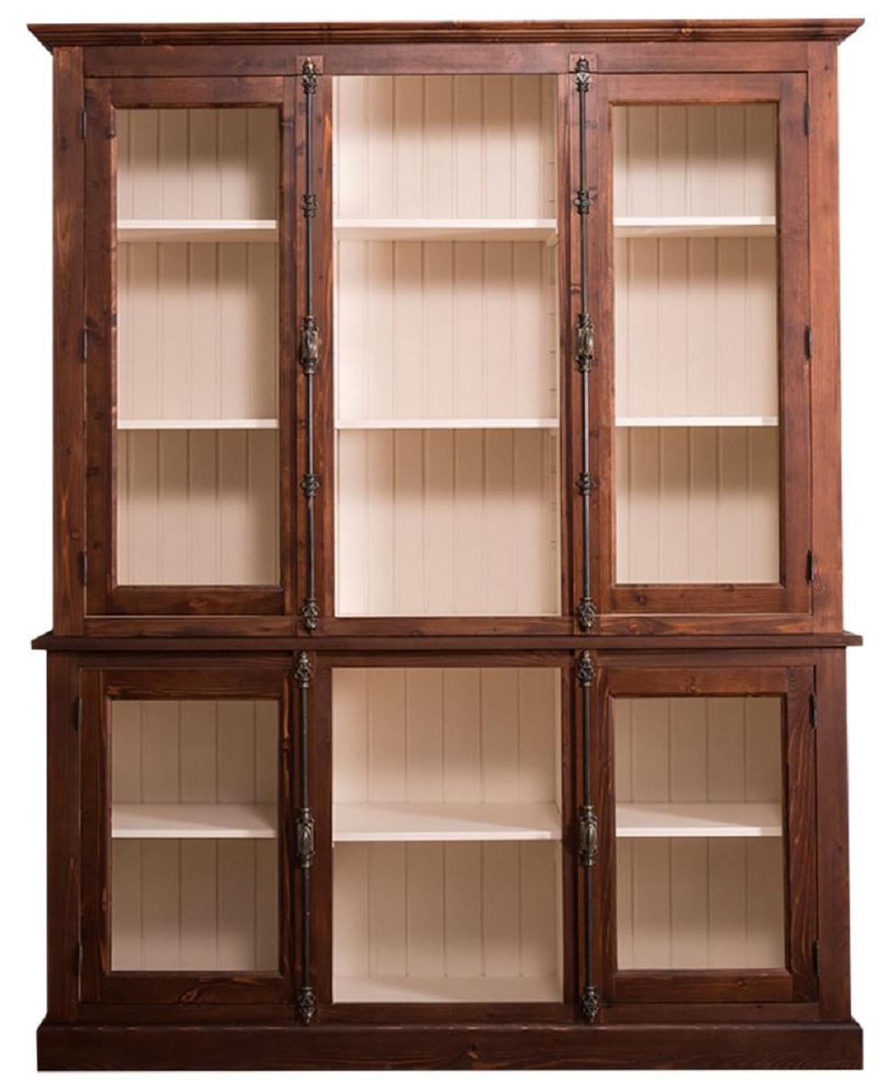 Casa Padrino Country Style Living Room Cabinet Dark Brown Cream 184 X 48 X H 228 Cm Massive Wood Display Cabinet With 4 Glass Doors