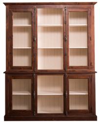 Casa Padrino country style living room cabinet dark brown / cream 184 x 48 x H. 228 cm - Massive Wood Display Cabinet with 4 Glass Doors
