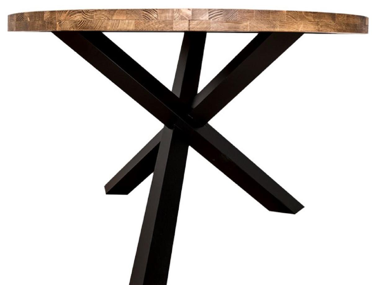 Casa Padrino mesa de comedor de estilo campestre marrón / negro Ø 130 x H.  78 cm - Mesa Redonda de Cocina de Madera Maciza