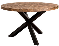 Casa Padrino Country Style Dining Table Brown / Black Ø 130 x H. 78 cm - Round Solid Wood Kitchen Table