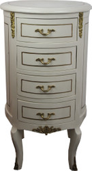 Casa Padrino Baroque Dresser Round Antique Style Cream White / Gold 42 x H 77.5 cm - Baroque Furniture