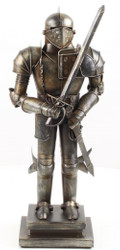 Casa Padrino Medieval Deco Armor Antique Silver 19.1 x 12.1 x H. 45.3 cm - Small Pewter Figure on Pedestal