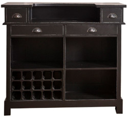 Casa Padrino Country Style Solid Wood Bar Cabinet with 4 Drawers & Wine Bottle Holder Antique Black 120 x 51 x H. 107 cm - Country Style Furniture