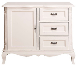 Casa Padrino country style chest of drawers with door and 3 drawers antique light gray 110 x 48 x H. 89 cm - Country Style Living Room Furniture