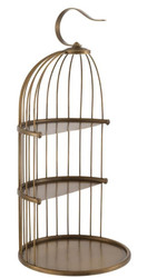 Casa Padrino designer etagere 3-stage with handle antique brass Ø 16.5 x H. 35.5 cm - Luxury Brass Etagere in Birdcage Design
