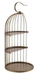 Casa Padrino Designer Etagere 3-Stufig mit Tragegriff Antik Messingfarben Ø 16,5 x H. 35,5 cm - Luxus Messing Etagere im Vogelkäfig Design