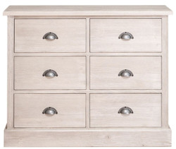 Casa Padrino country style chest of drawers with 6 drawers gray 100 x 35 x H. 80 cm - Country Style Furniture