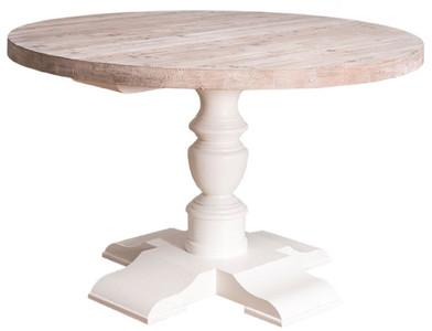 Casa Padrino mesa de comedor de estilo campestre blanco / natural Ø 130 x  H. 78 cm - Mesa Redonda de Cocina de Madera Maciza