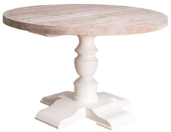 Casa Padrino Country Style Dining Table White / Natural Ø 130 x H. 78 cm - Round Solid Wood Kitchen Table