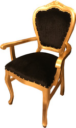 Casa Padrino Baroque luxury dining chair with armrests Black / Gold