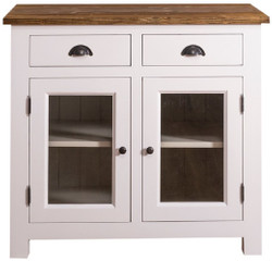 Casa Padrino country style kitchen cabinet with 2 glass doors and 2 drawers white / gray / brown 100 x 65 x H. 90 cm - Kitchen Furniture in Country Style