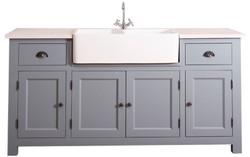 Casa Padrino Landhausstil Waschbeckenschrank Blau / Weiß 180 x 65 x H. 90 cm - Waschtisch mit 4 Türen und 2 Schubladen