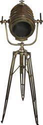 Casa Padrino Vintage Dreifuß Studioleuchte Messing / Edelstahl  Höhe 168 cm - Stehleuchte Lampe