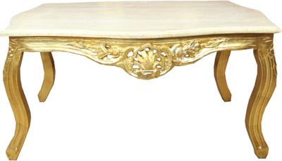 Casa padrino barock couchtisch gold mit marmorplatte creme for Couchtisch marmorplatte