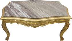 Casa Padrino baroque coffee table gold with inserted marble top - furniture living room table antique style