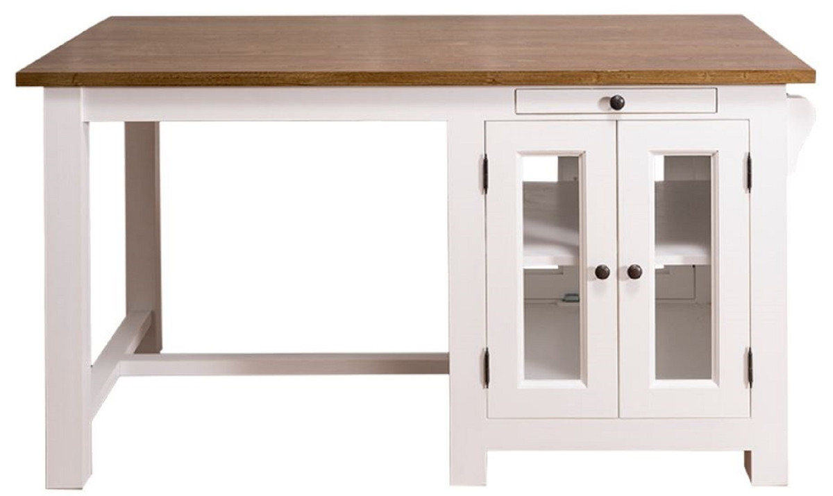 Casa Padrino Country Style Kitchen Island With 4 Glass Doors And 2