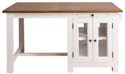 Casa Padrino country style kitchen island with 4 glass doors and 2 drawers white / dark brown 150 x 85 x H. 80 cm - Country Style Kitchen Furniture