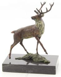 Casa Padrino Luxury Deco Bronze Figure Red Deer Multicolor / Black 12.5 x 7.4 x H. 15.2 cm - Bronze Sculpture