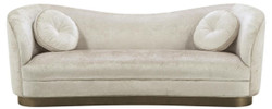 Casa Padrino Luxury Living Room Sofa White-Beige / Bronze 230 x 85 x H. 82 cm - Curved Luxury Couch with 2 Decorative Cushions