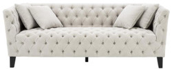 Casa Padrino Luxury Chesterfield Living Room Sofa with 4 Cushions Sand / Black 217 x 92 x H. 78 cm - Luxury Furniture