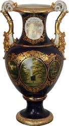 Casa Padrino Barock Vase Blau / Gold / Weiß 34 x 29 x H. 58,5 cm - Prunkvolle Porzellan Vase mit 2 Griffen