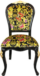 Pompöös by Casa Padrino Luxury Baroque Dining Chair Butterflies & Flowers Multicolor / Black / Gold - Pompööser Baroque Chair Designed by Harald Glööckler