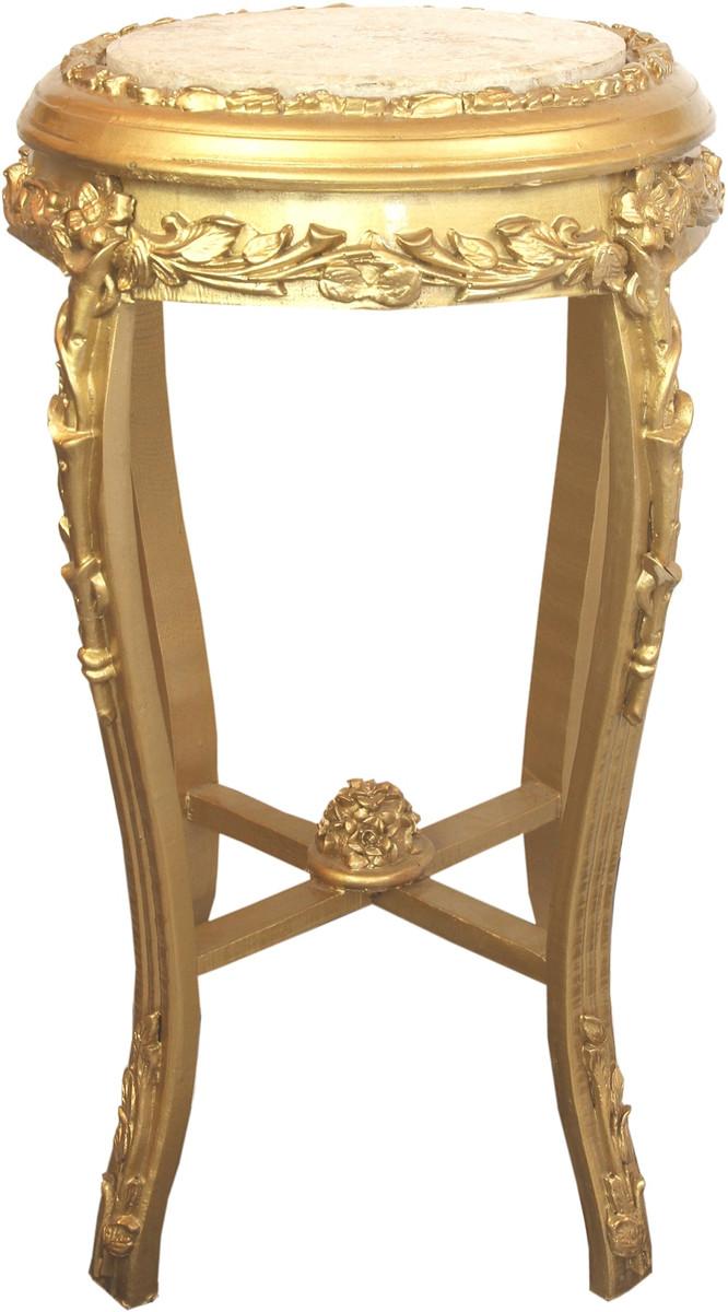 Casa Padrino Barock Beistelltisch mit Marmorplatte Gold / Creme Ø 45 x H. 71,5 cm - Runder handgeschnitzter Antik Stil Telefontisch Blumentisch mit wunderschönen Verzierungen 1