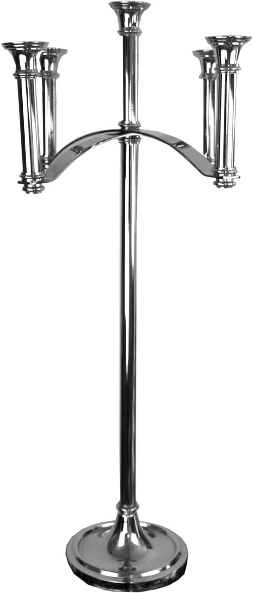 Casa Padrino Luxus Kerzenhalter Silber 47 x 47 x H. 101,5 cm - Art Deco Aluminium Kerzenständer 1