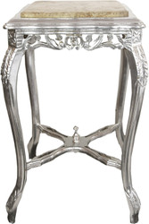 Casa Padrino baroque side table with marble top in silver / cream 45 x 45 x H. 71,5 cm - Baroque Furniture